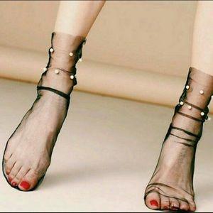 Ban.do Tulle black pearl sheer slouchy socks